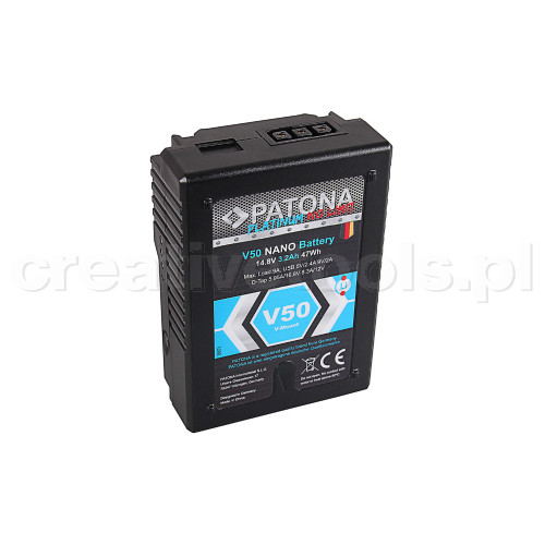 PATONA Platinum NANO V-Mount Battery V50 with 47Wh RED ARRI