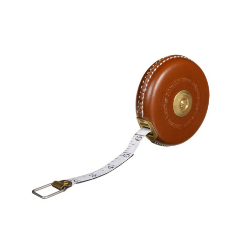 Bright Tangerine Brown Leather Tape Measure with Brass Winder 33 Feet / 10 Meter